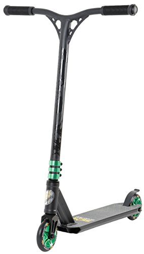 Star-Scooter Pro Sport Freestyle Stunt Scooter Kickscooter Roller für Kinder ab 7 Jahre und Erwachsene ★ 110mm Semi Professional Stuntscooter Alu HIC Kompression ★ Schwarz & Grün